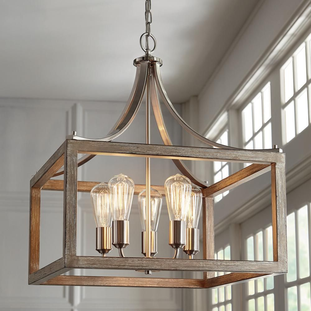 Home Decorators Collection Boswell Quarter 20 In 5 Light Brushed Nickel Chandelier With Painted Weathered Gray Wood Accents 7949HDCDI