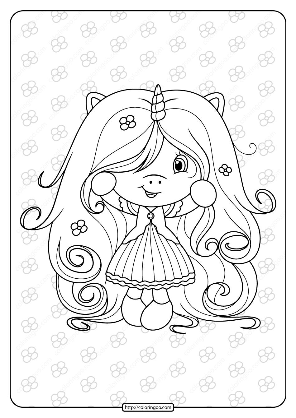 Free Printable Cute Girl Unicorn Coloring Page Unicorn