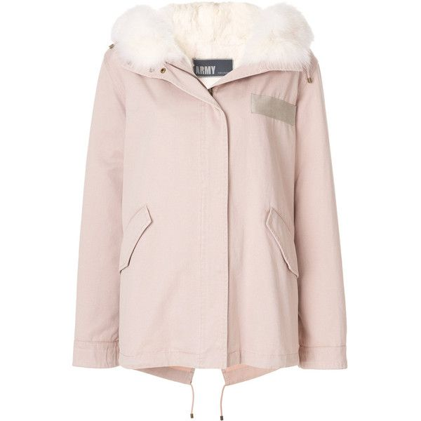 Army Yves Salomon fur trim parka ($1,725) ❤ liked on Polyvore featuring outerwear, coats, pink coat, pink parka, fur trim parka, parka coats and fur-trimmed coat