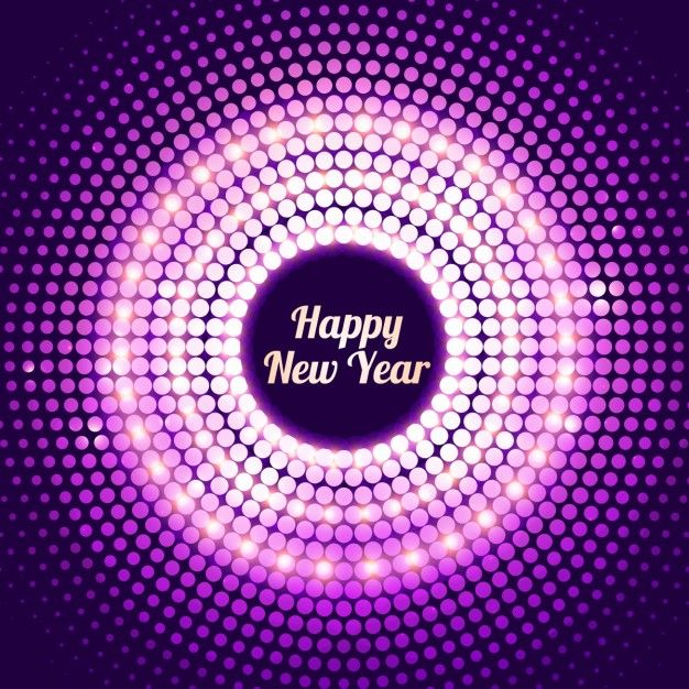 shiny dotted new year background in purple color free vector