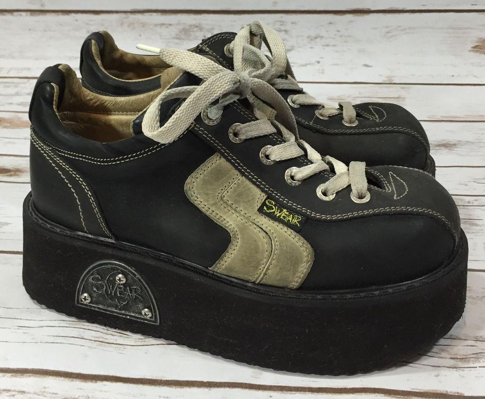 Vintage 90s Swear Shoes Black Platform