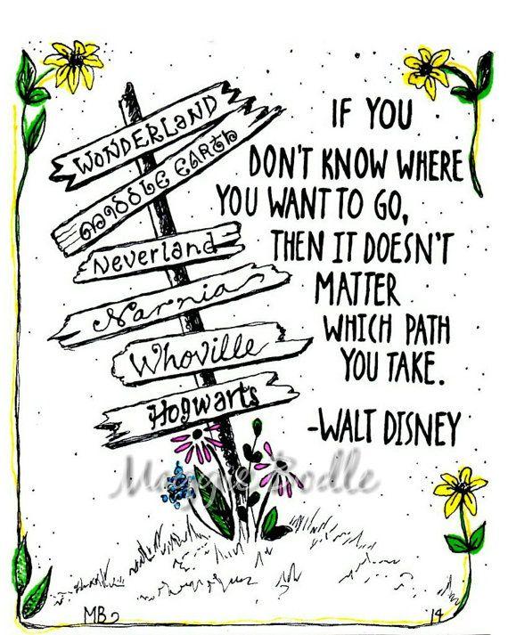 PRINT Disney Quote Deco Art Ink Illustration Alice Door MaggieBodle