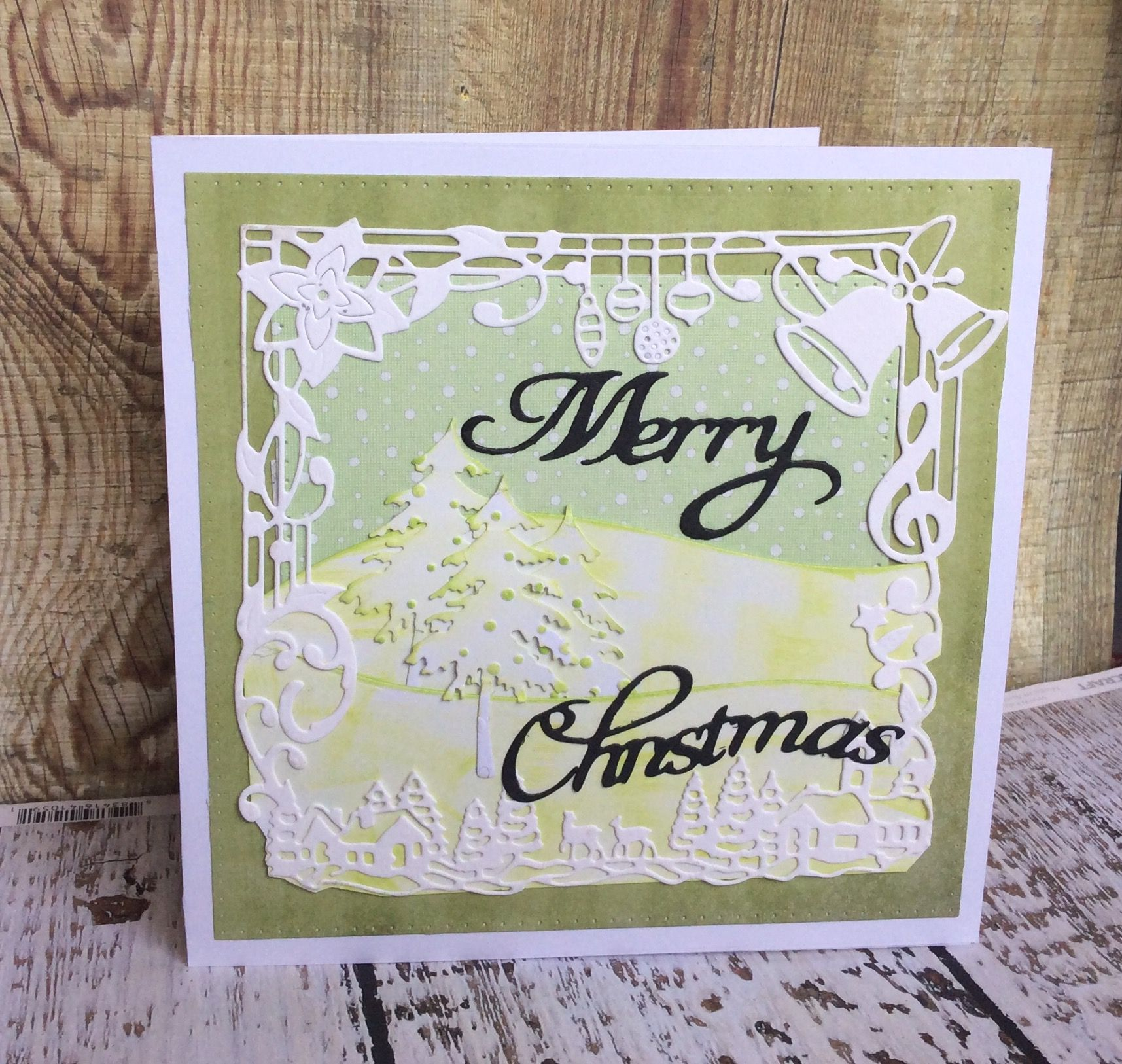 Christmas card made with various die cuts   Denise Fletcher Cards ...