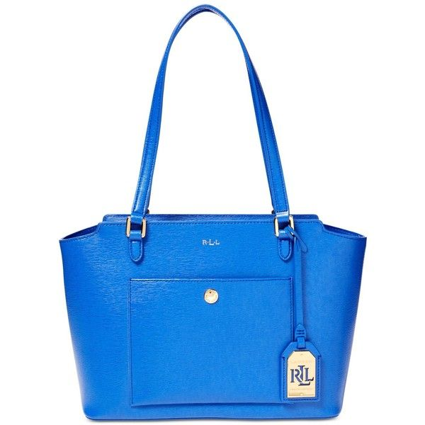 Lauren Ralph Lauren Newbury Modern Pocket Shopper ($178) ❤ liked on Polyvore featuring bags, handbags, tote bags, pacific blue, blue tote bag, shopping tote bags, blue handbags, shopping tote and lauren ralph lauren
