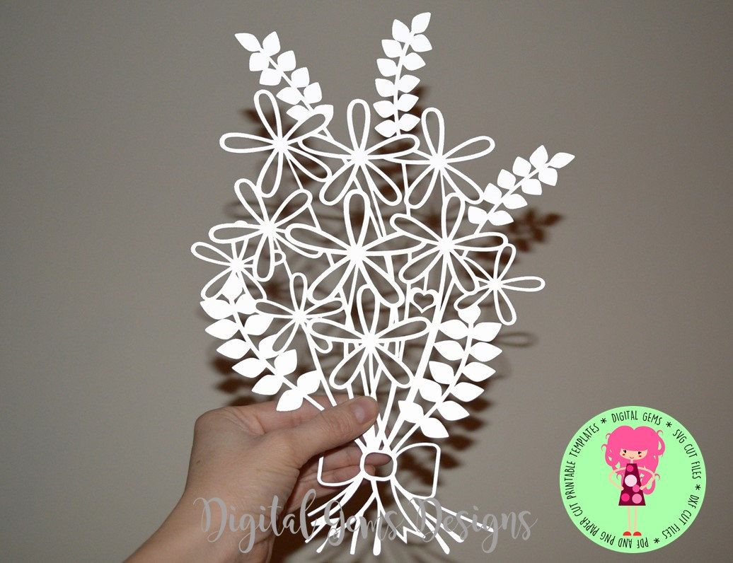 Flower Paper Cut Template, SVG / DXF Cutting files for Silhouette ...
