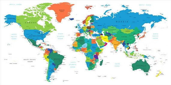 Dry Erase World Country Names Map Wall Decal   Carter\'s room   World ...