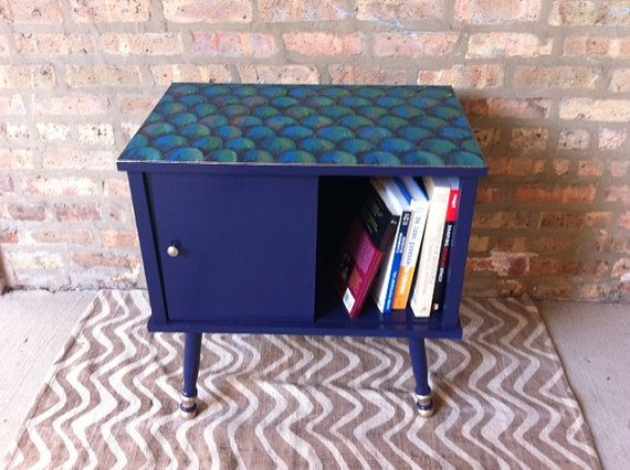 Vintage End Table with Storage Door and Fish by HandPaintedVintage, $200.00