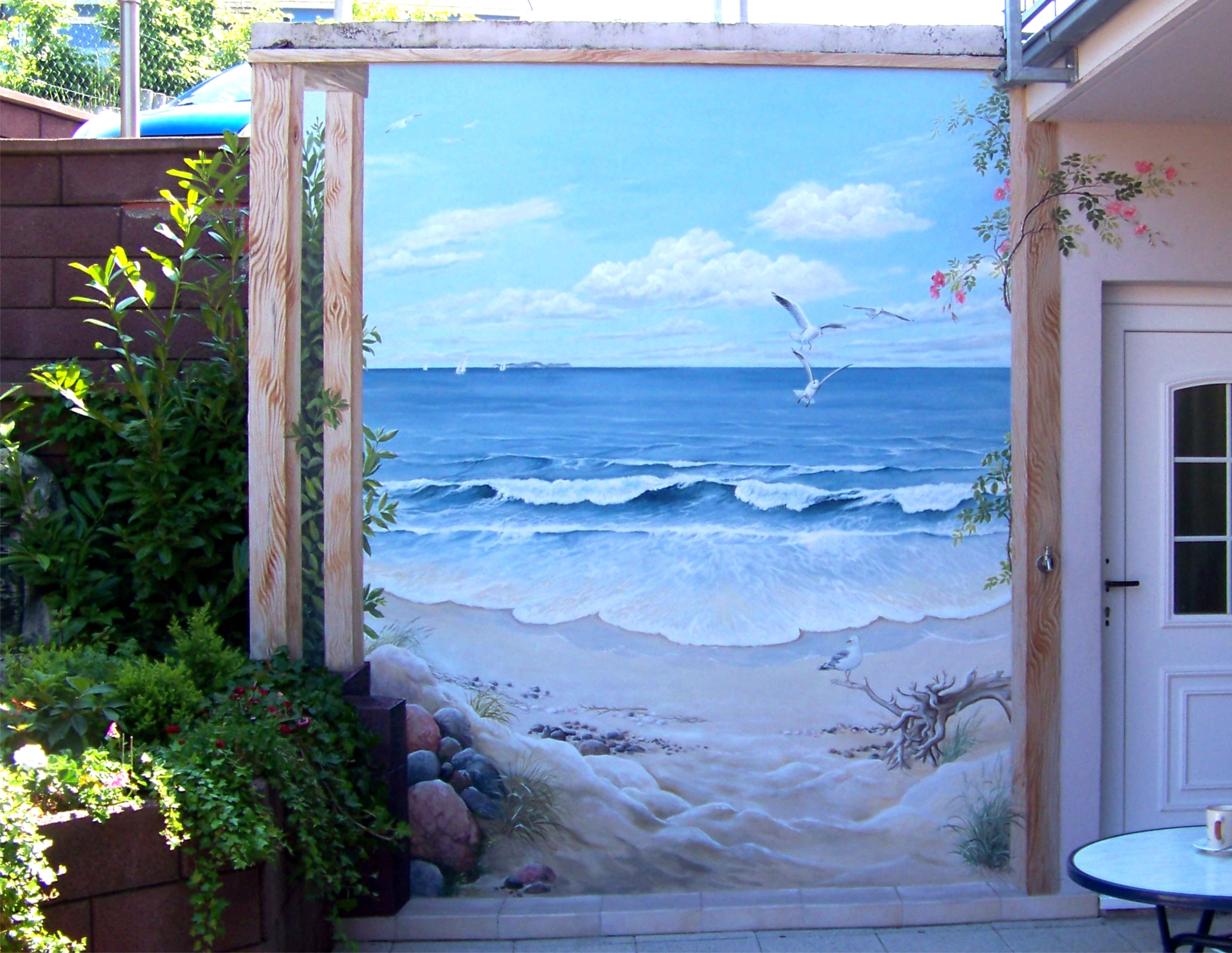 Strand auf der terrasse wandmalerei meine bilder - Wandgestaltung terrasse ...