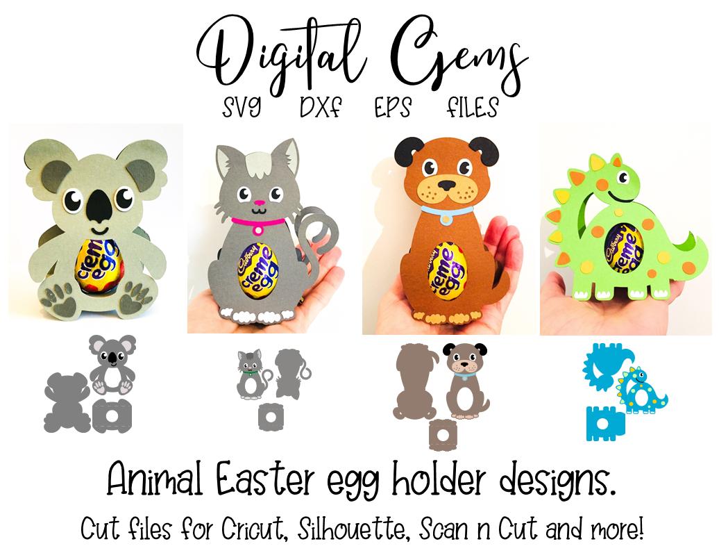 Easter Egg Holder Designs Koala Cat Dog And Dinosaur Svg Dxf Eps Files In 2020 Easter Egg Holder Holder Design Egg Holder