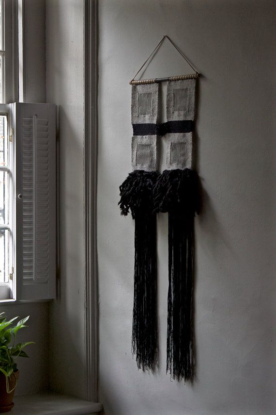 Woven Wall Hanging: Tapestry Weaving in Black by BookMeatStudio