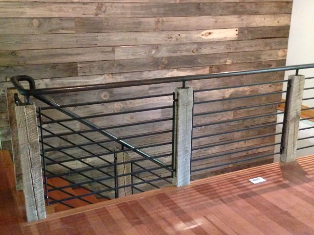 Reclaimed Wood Posts With Steel Rail And Spindles Loft Staircase   Industrial Stair Railing Design   Structural Steel Modern   Detail Industrial   Horizontal   Custom Metal   Ancient