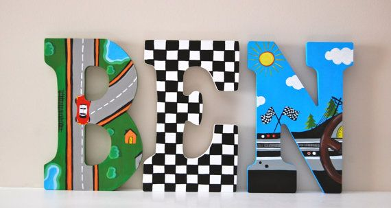 Racecar Theme Hand Painted Wooden Letters Price is Per Letter