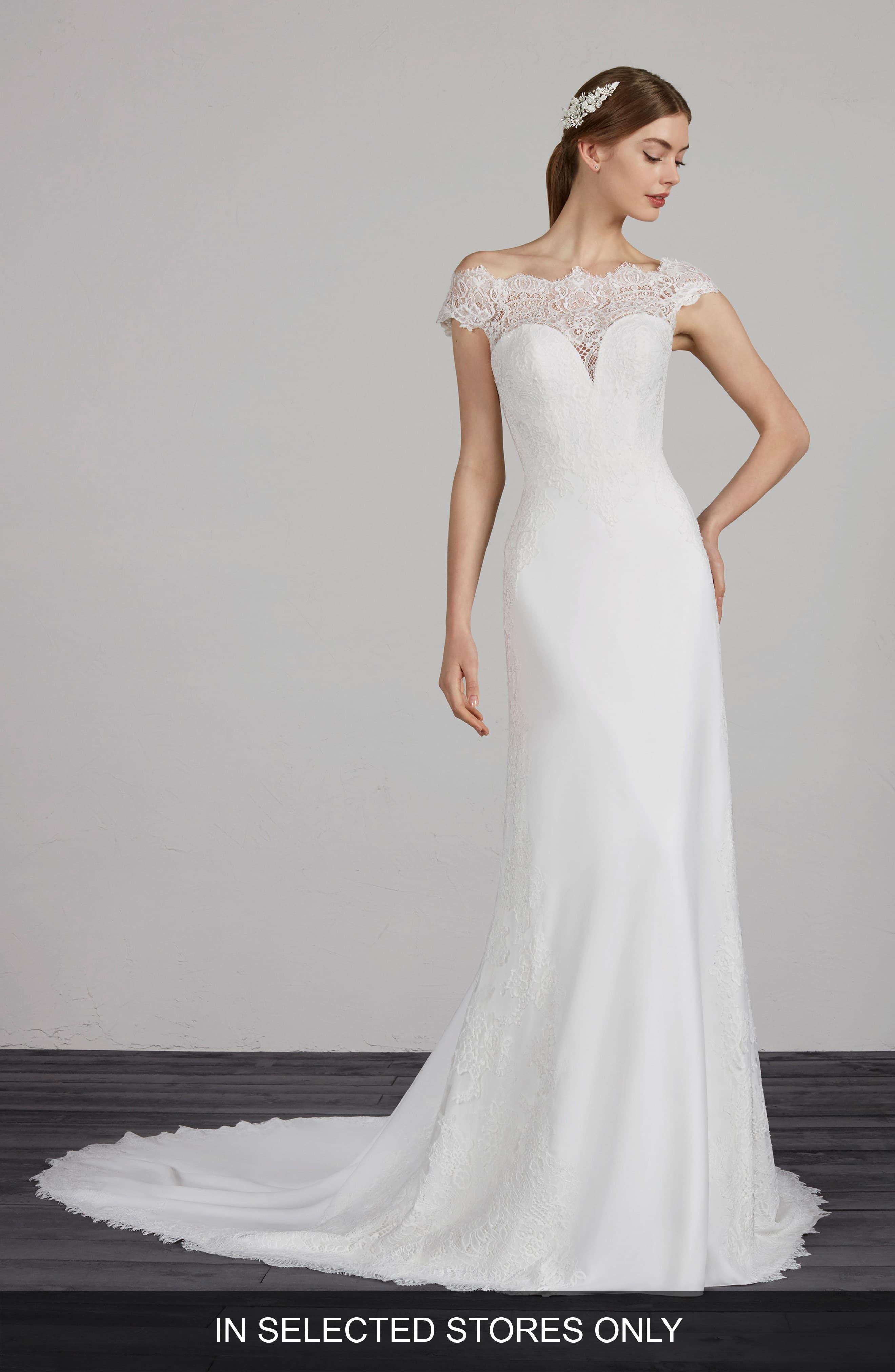 Pronovias Modena Off the Shoulder Lace & Crepe Gown