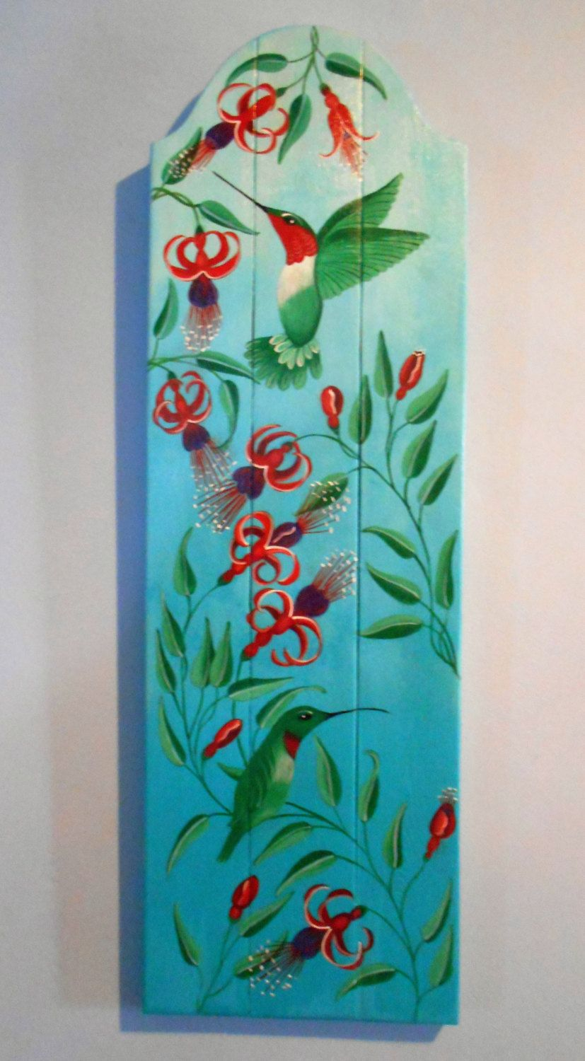Decorative Door Hangers Hummingbird Wall Decor Plank Art Decorative Bird Plaque Flower