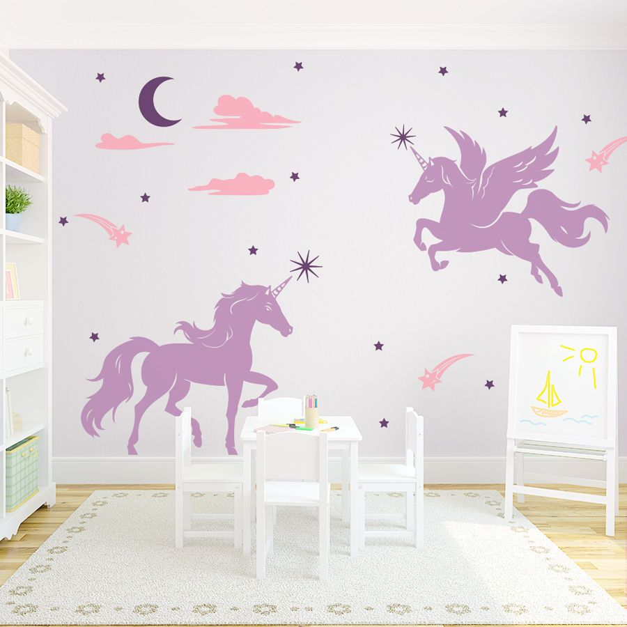 Magical unicorns wall decal playroom ideas pinterest for Mural art designs for bedroom