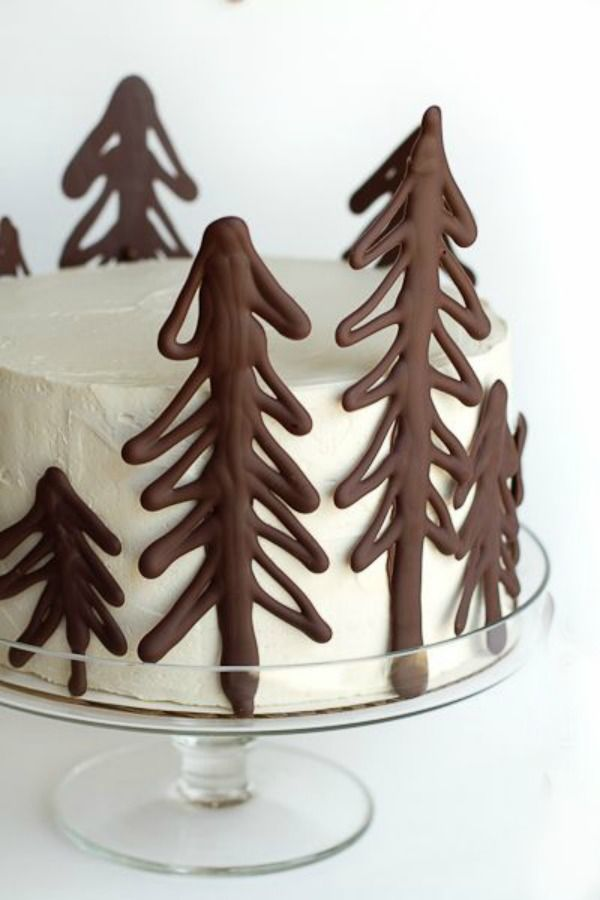 White Cake with Chocolate Trees