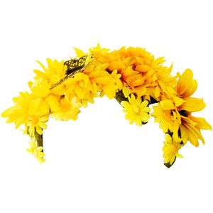 1960s Flower Headband Floral Wreath Crown Yellow Daisy Spring Summer