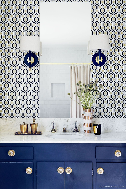Cole And Son Hicks Hexagon Wallpaper Exclusive Tour Claire Thomas Mod House On Stilts Via Jonathan Adler Sconces In Guest Bathroom