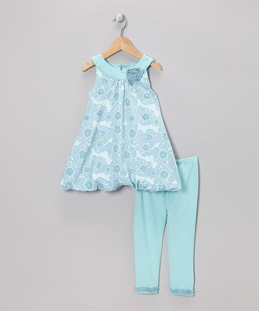 Another great find on #zulily! Blue Floral Stephanie Bubble Tunic & Leggings - Toddler #zulilyfinds