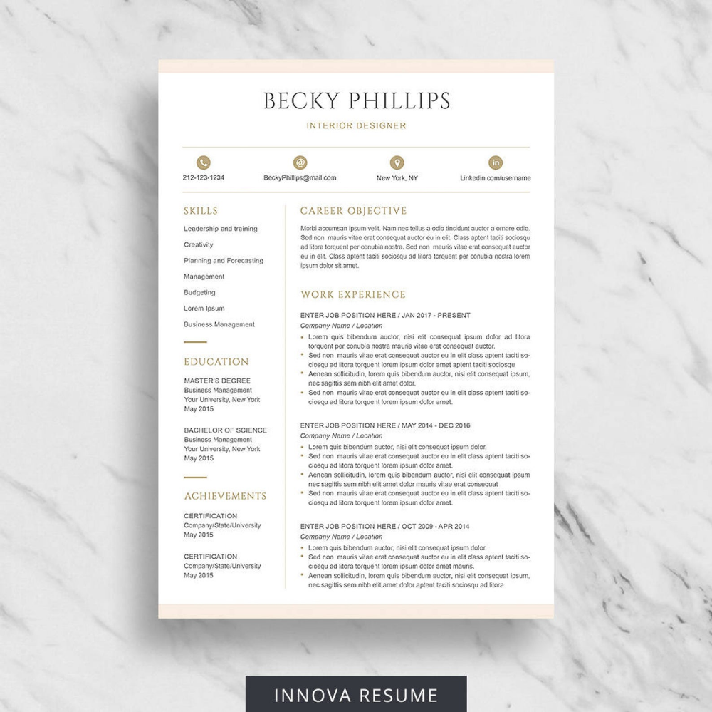 Modern Resume Template for Word Clean Resume Design