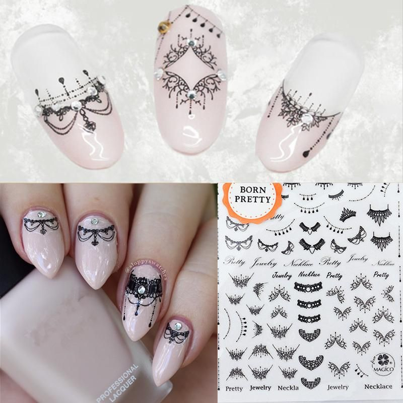 Lace Necklace 3D Nail Art Stickers Black Lace Full Nail Stickers ...
