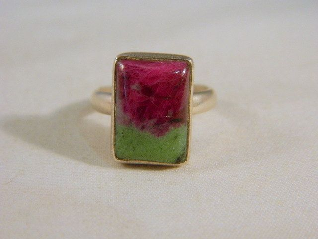 Mod Unique Ruby Zoisite  Ring / Sterling Silver Vintage Red and Green Anyolite Gemstone Ring Size 6.75 by VintageBaublesnBits on Etsy