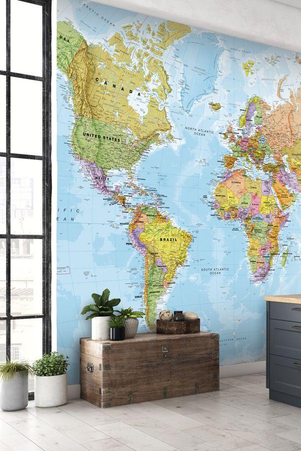 Political world map wall mural wallpaper walls and wall murals political world map wall mural world map wallpaper wallsauce usa gumiabroncs Images