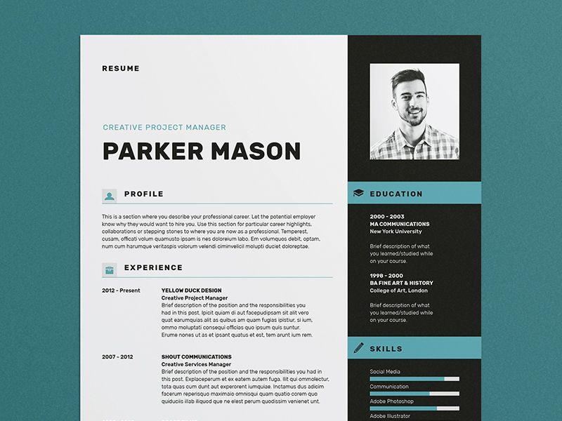 Resume/CV - \u0027Parker\u0027 Resume cv, Free cover letter and Template
