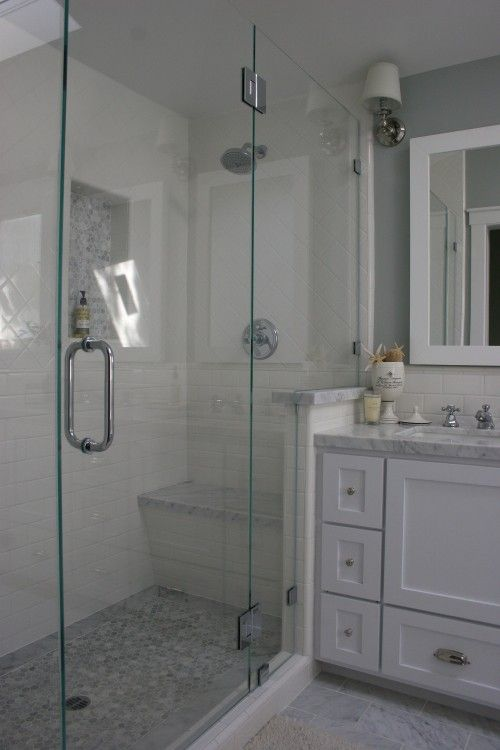 Built In Shower Bench Under The Shower Head With Door On