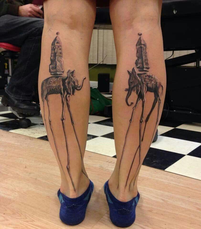 Dali elephant tattoo.