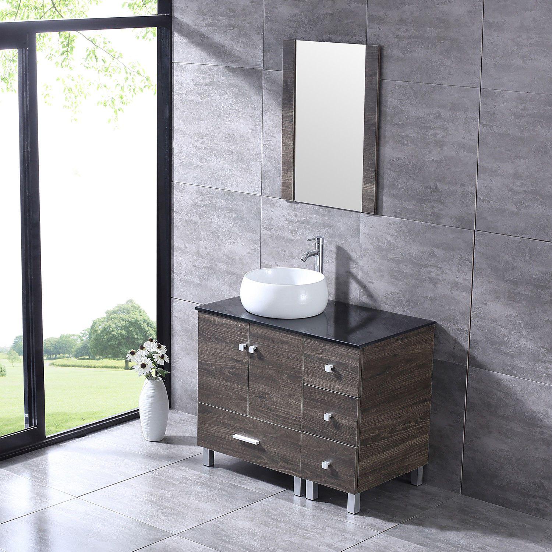 36 Bathroom Vanity White Round Ceramic Sink W Mirror Modern Wood Cabinet Combo