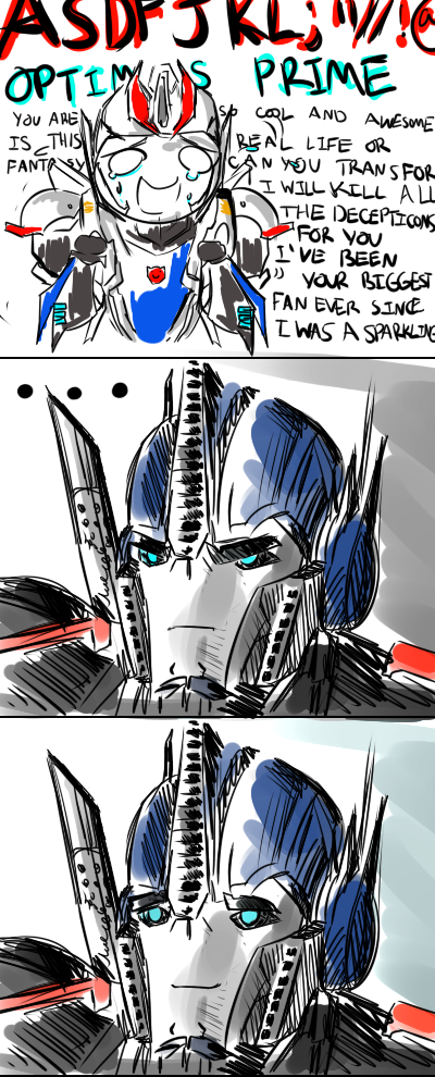 Transformers Prime - Smokescreen the fanboy by Awesomus