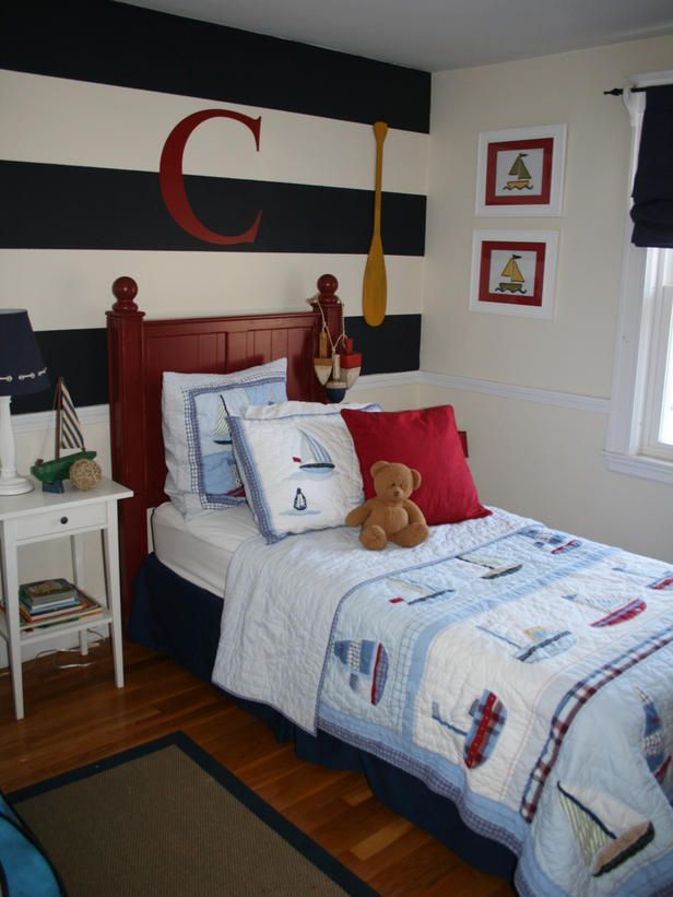 Rooms on a Budget: Our 10 Favorites From HGTV Fans nautical boys room  Instead of repainting the entire room, paint one focal wall. Paint horizontal stripes to add interest to the wall behind the bed, as well as visually expand the utical boys room  Instead of repainting the entire room, paint one focal wall. Paint horizontal stripes to add in...