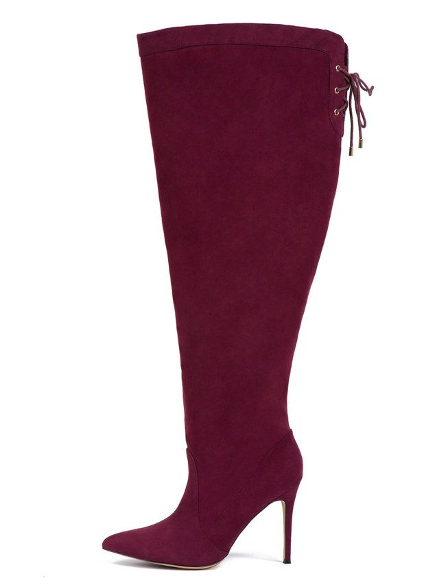 7a02da97089 Luella Over-The-Knee Boot Burgundy Faux Suede