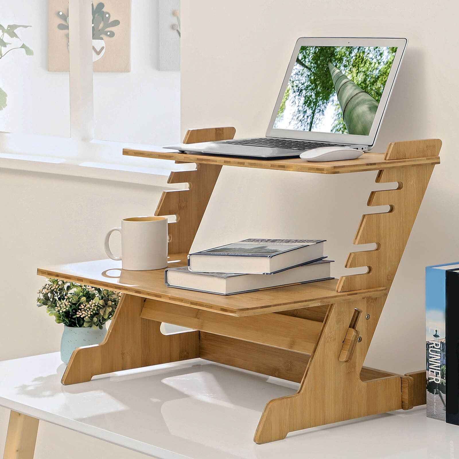 Bamboo standing computer desk monitor stand in 2020