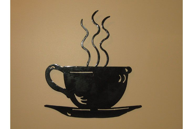 Steaming coffee cup wall art