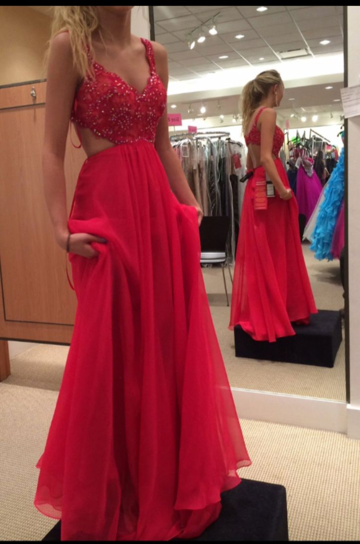 Spaghetti strap lace bodice red chiffon skirt backless prom dress