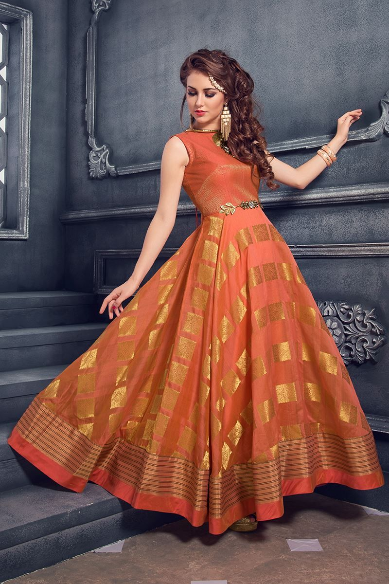 16630ed8dfae94 Picture of Outstanding orange floor length dress More