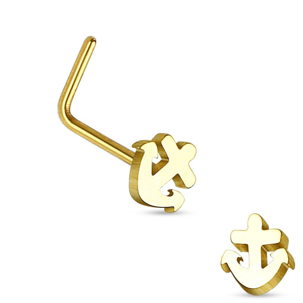 Nose piercing bump types  Gold Anchor L Bend Nose Stud G Nose Ring  Steel and Products