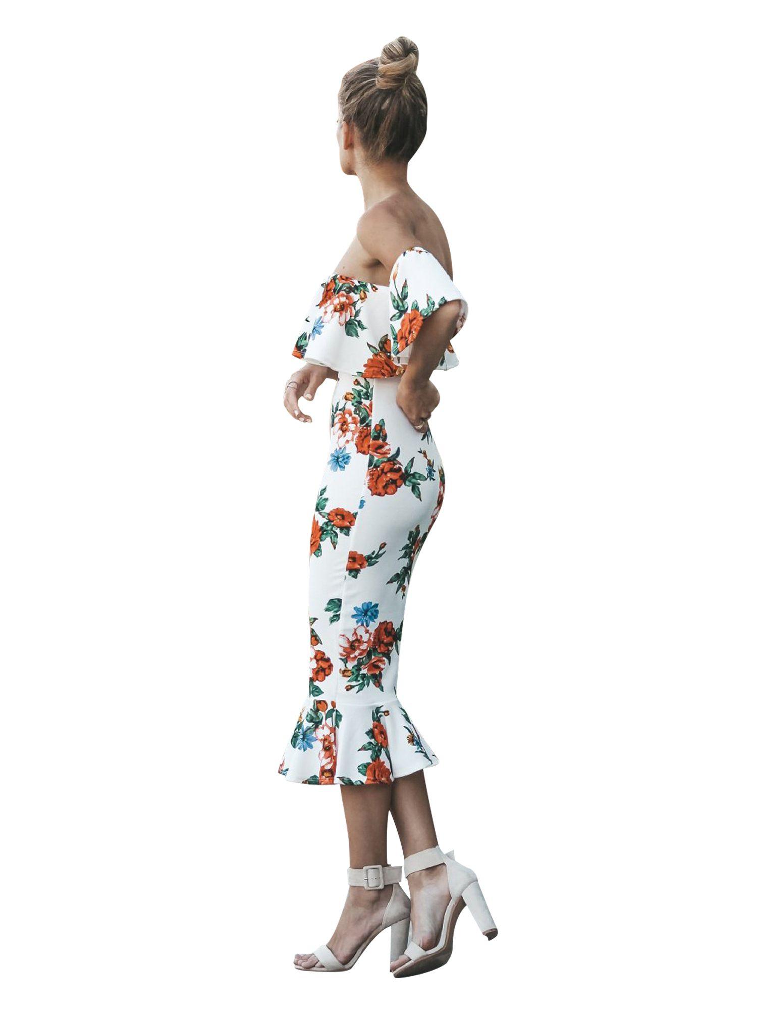 Floral Bodycon Dresses Women Ruffles Short Sleeve Long Midi Formal Cocktail Evening Party Off Shoulder Backless Dress #shortbacklessdress