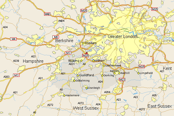 Map Of Surrey Uk Addlestone Map   Street and Road Maps of Surrey England UK (I