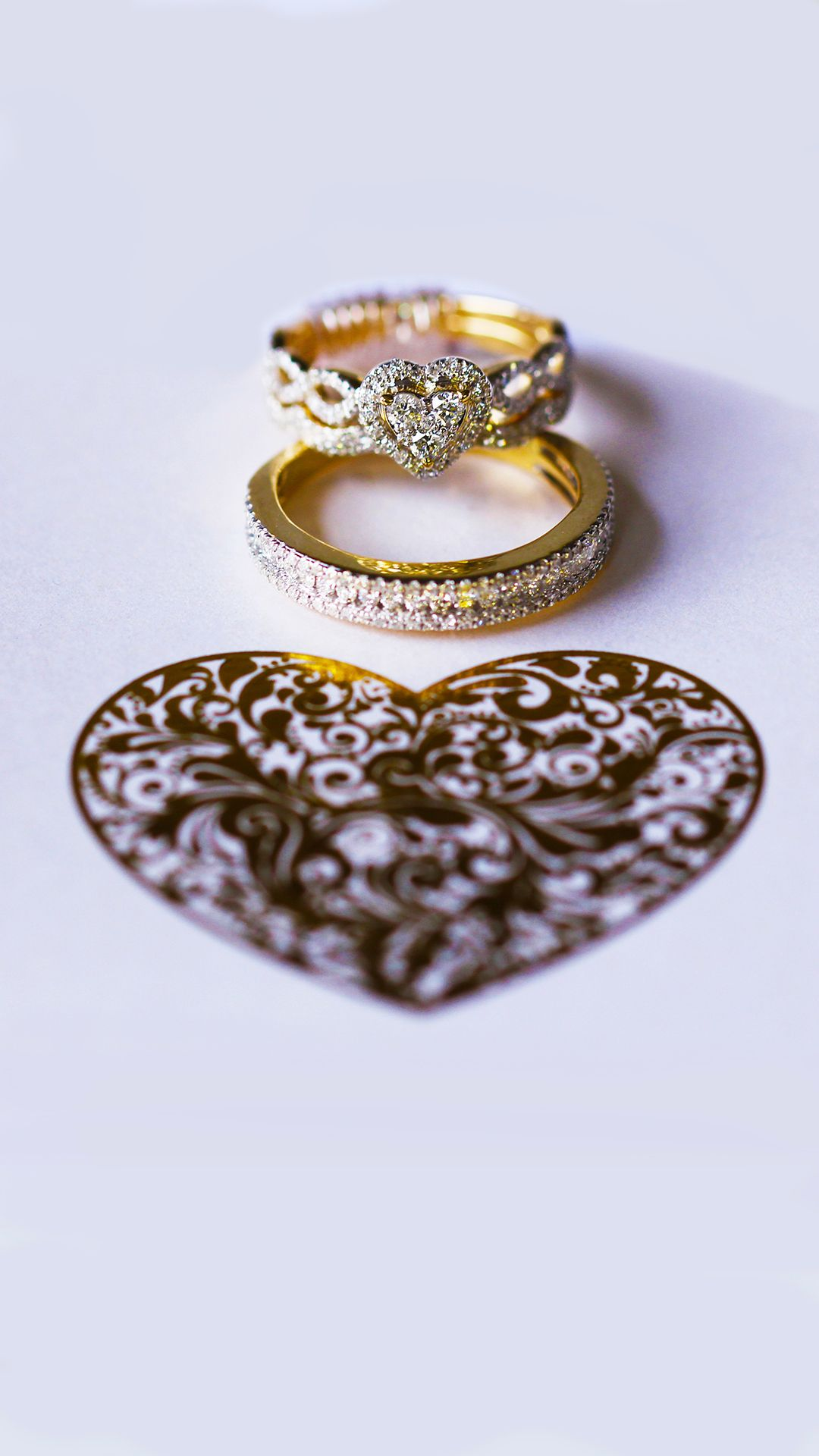 Yellow Gold Heart Shaped Diamond Cluster Trio Wedding Ring Set By