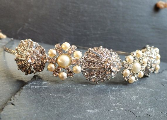 art nouveau bridal tiara1920's hair accesory by whirligigbridal