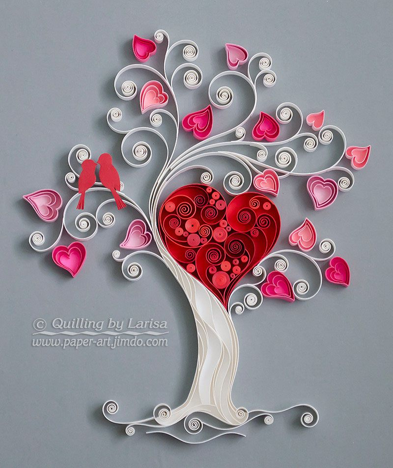 Quilling art paper design wall love tree creations pinterest also rh