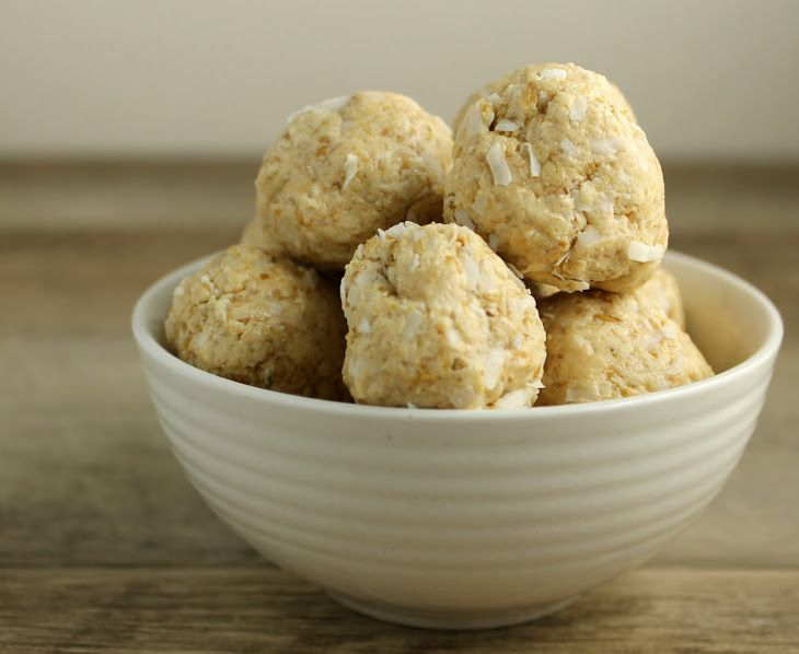 Cashew and Coconut Raw Cookie Balls Recipe Desserts with cashew butter, coconut nectar, rice milk, coconut, flax seed meal