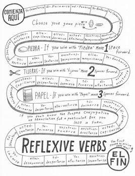 Reflexive verbs game board Spanish verb practice printable