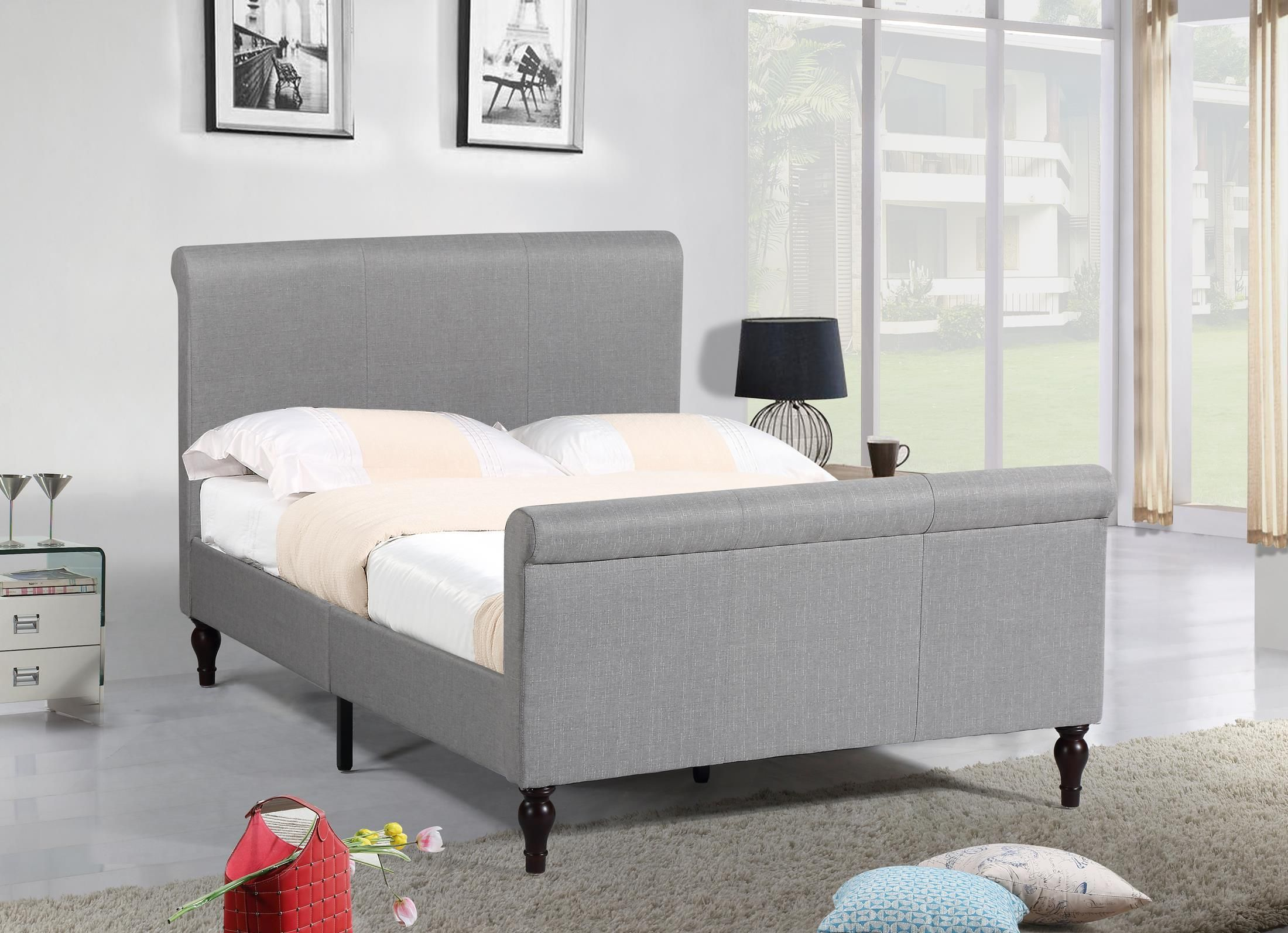 Best Homelife® 45 Light Grey Sleigh Platform Bed Grey 400 x 300