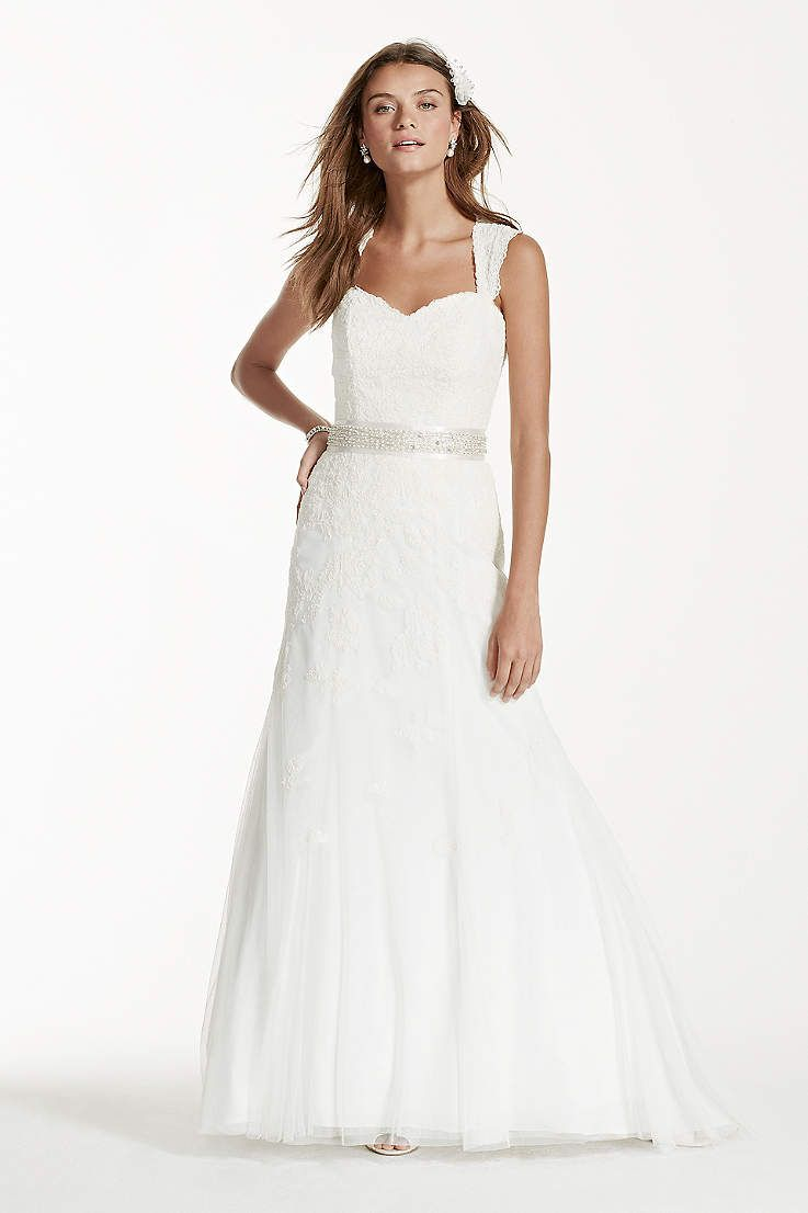 View petite cap sleeve wedding dress with all over lace vw