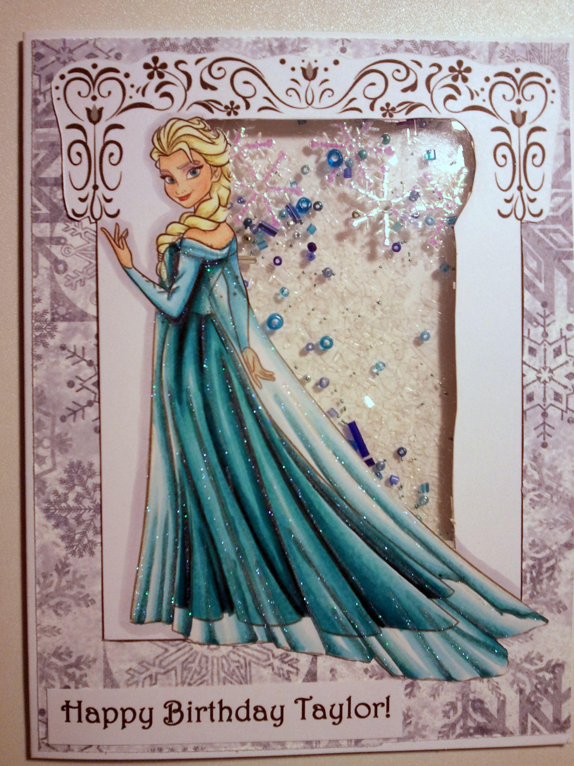 Elsa From Frozen A Handmade Frozen Themed Shaker Card For My Niece S 5th Birthday Girl Birthday Cards Frozen Cards Themed Cards