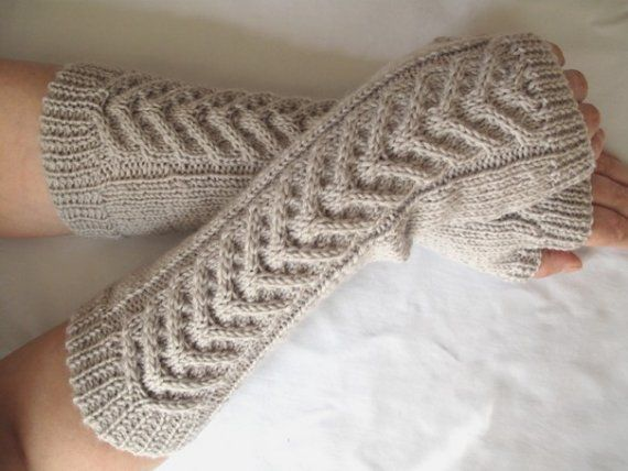 Pearl grey fingerless gloves / wrist warmeers - 100 per cent Merino ...